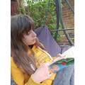 Enjoying a good book.