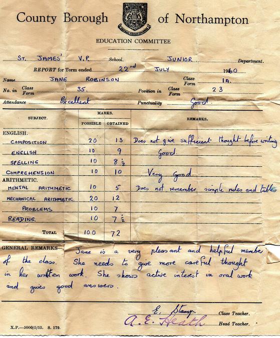 Jane Robinson Report 1960