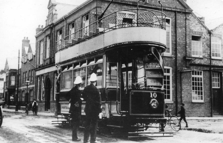 Padmoor & Barnes shoe factory & tramshed 1904