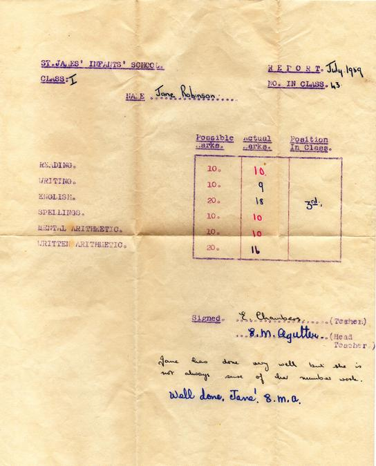 Jane Robinson Report 1959