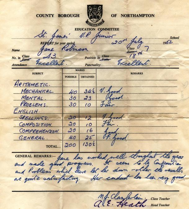 Jane Robinson Report 1962