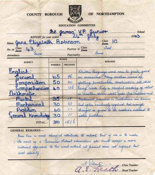 Jane Robinson Report 1963