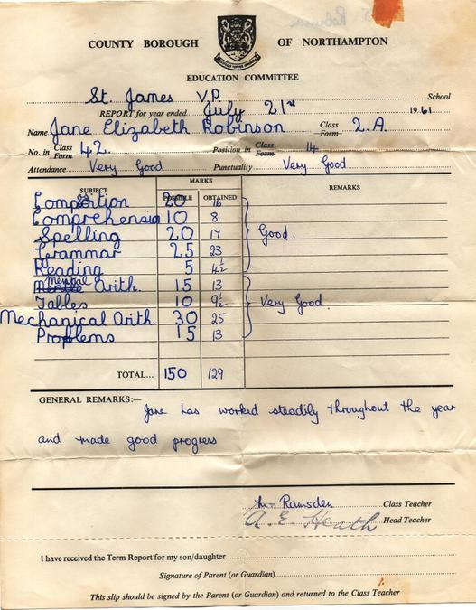 Jane Robinson Report 1961