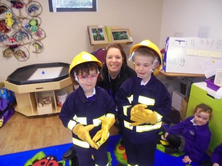 We really enjoyed wearing the firefighter uniform.