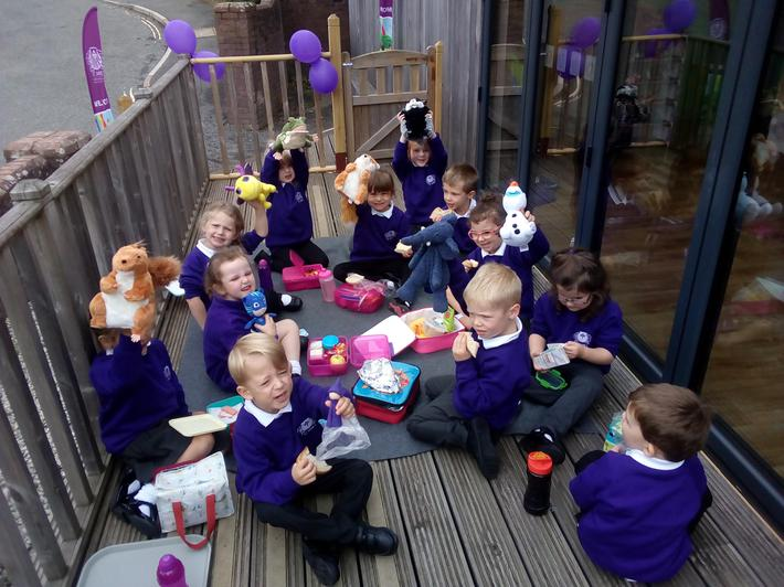 Our first lunch was a teddy bear's picnic!