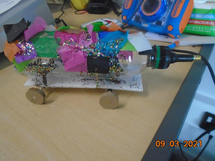 We made a rocket car.