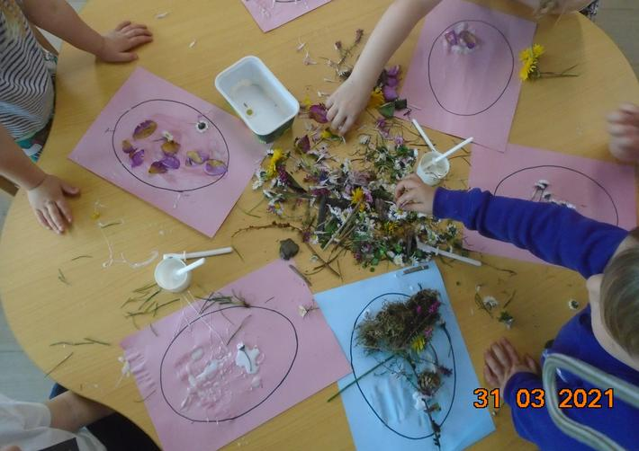 We used the flowers to decorate our eggs.