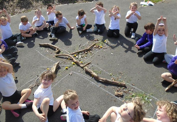 We used natural objects from our outdoor area.