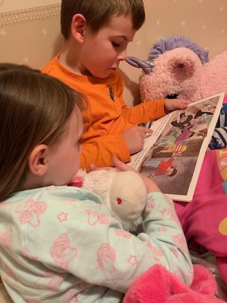 Jack reading to Olivia