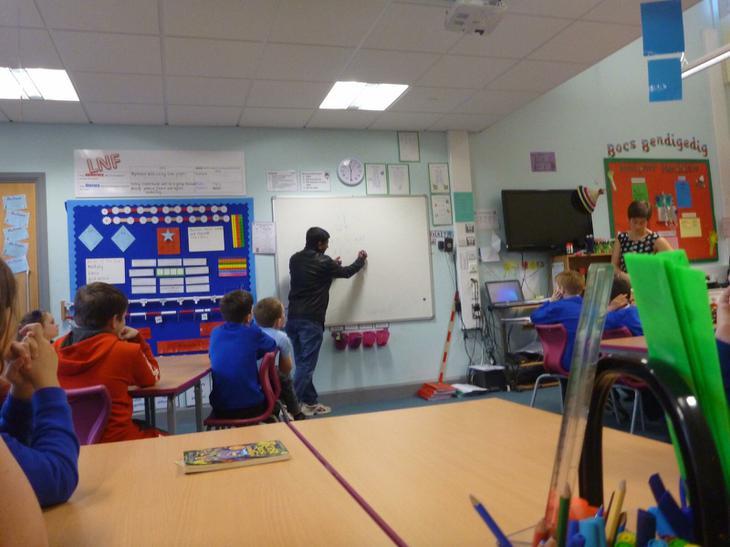 Mr Sardar teaching a maths lesson