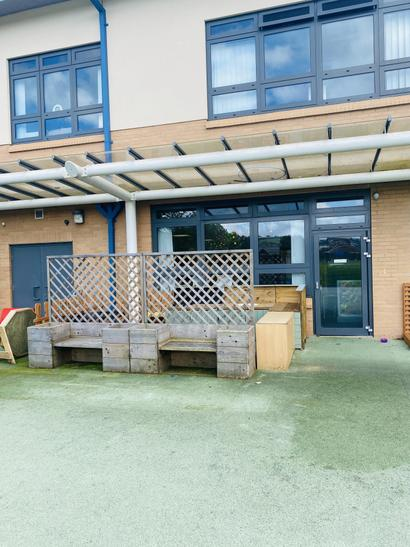 Harlech door into classroom and outdoor kitchen area