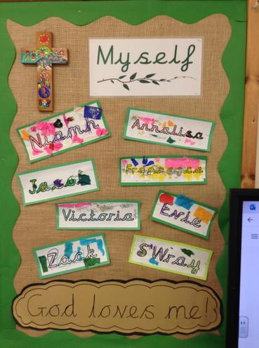 Reception Class decorated their names to show they are all special and loved.