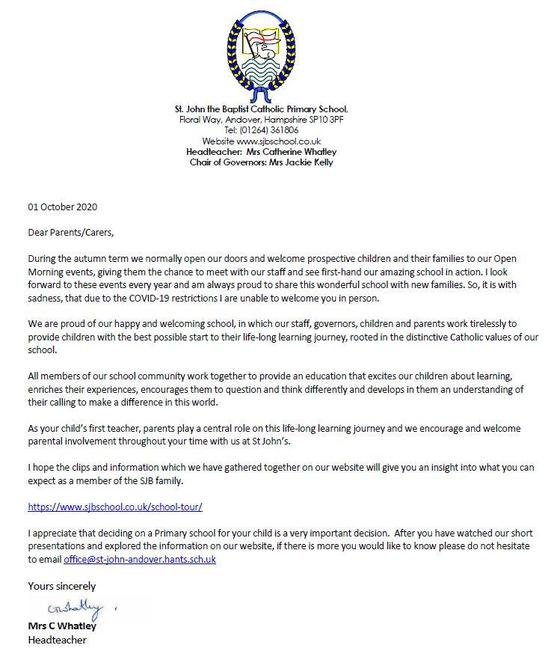 Welcome letter from the Headteacher