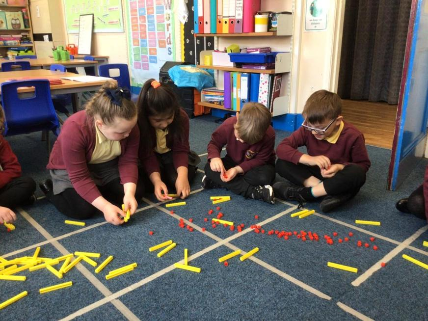 We practiced our more and less than practically using the dienes.