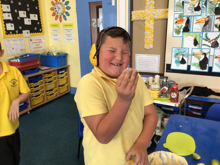 Tasting sour lemons during baking!