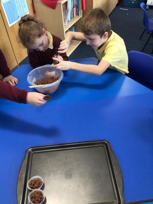 We enjoyed making crispy cakes during Chocolate week.