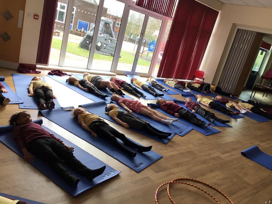 Relaxing in yoga