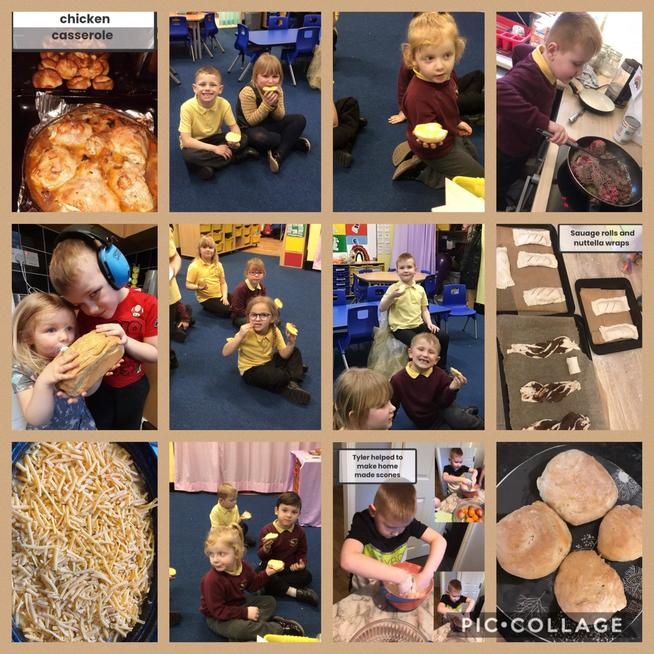 We have been busy baking bread and other yummy treats and helping cook our tea.