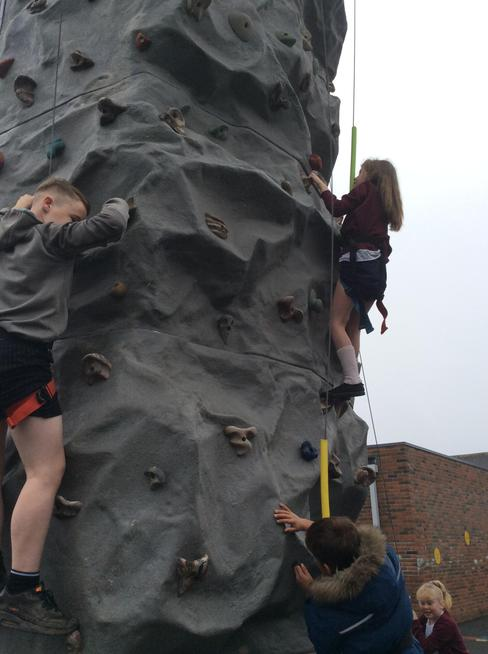 Showing off our climbing skills