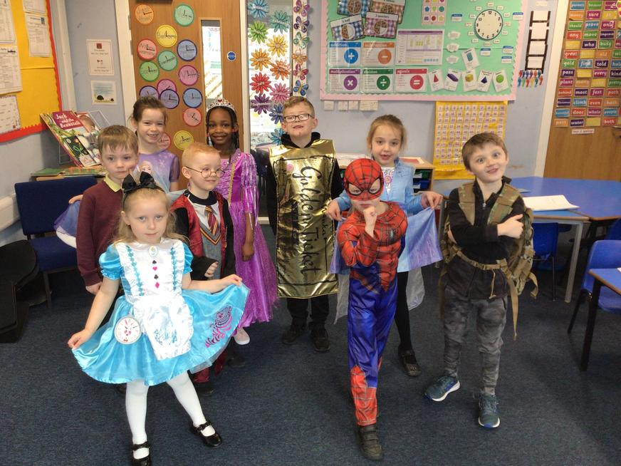 Showing off our fantastic outfits on World Book Day!