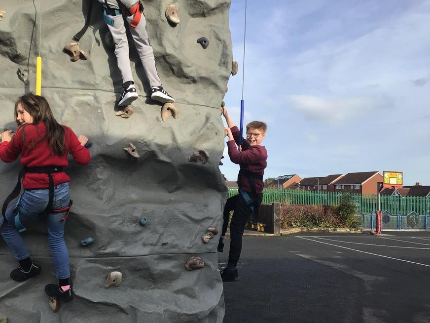 Fun on the climbing wall