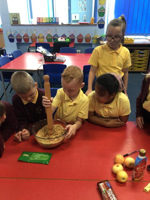 We created a dirty pudding to represent different layers of soil.
