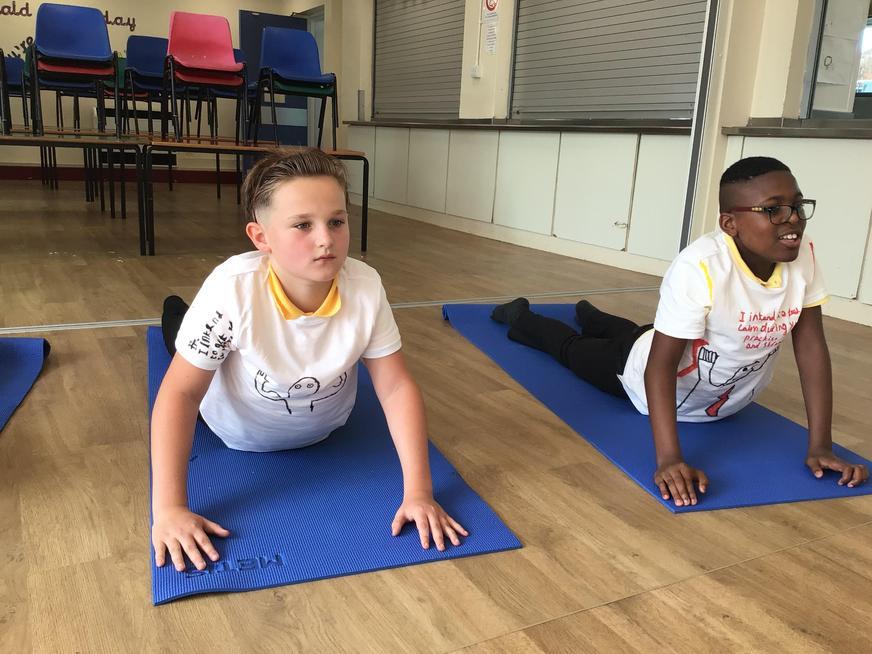 Enjoying weekly yoga sessions