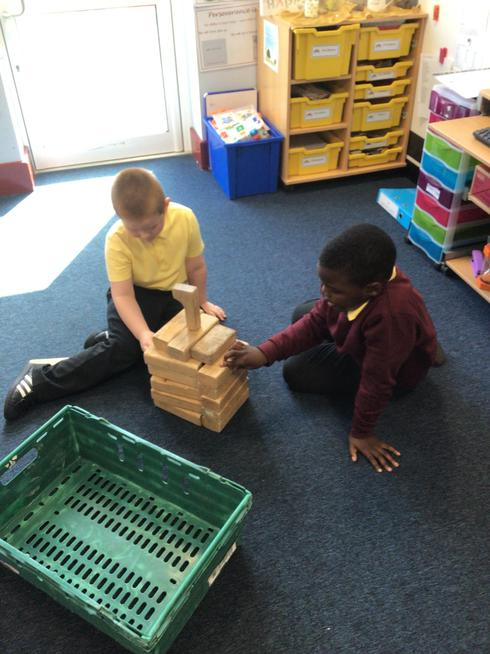 Making houses for the 3 Little Pigs.