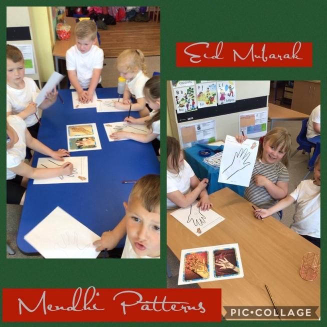 We created our own Mendhi patterns for Eid Mubarak.