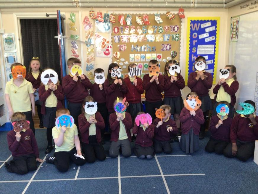 We made masks of our favourite animals.