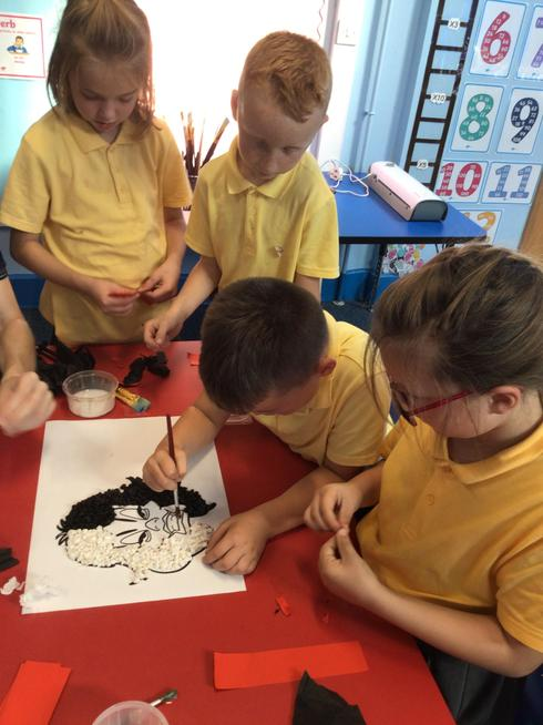 We used our fine motor skills to roll paper balls in Cruella arts and crafts.
