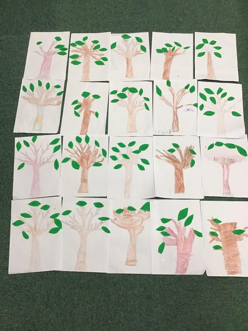Our Gratitude Trees linked to our Worship Theme, Thankfulness.
