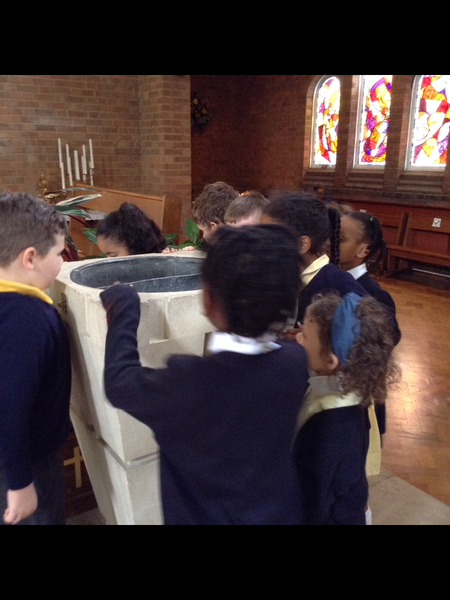 We got to visit Father Richard at the church. This half term we learned about Baptism.