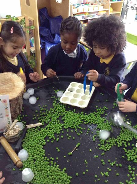 Exploring peas and ice was great for fine motor and language development
