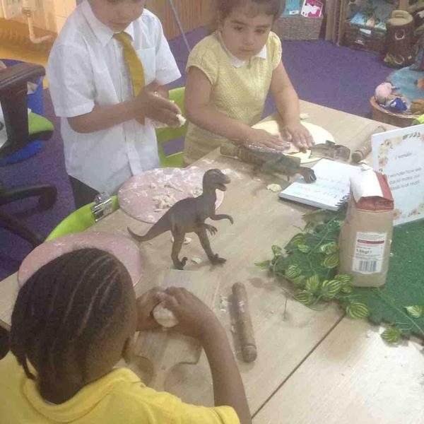 Creating dinosaur fossils with flour, salt and water.