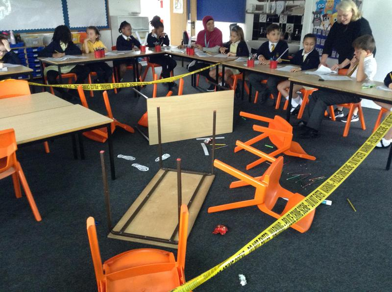 We used our skills of inference to deduct from the clues left behind at the Crime scene wh