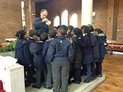 Sometimes our RE lessons take place in the church!