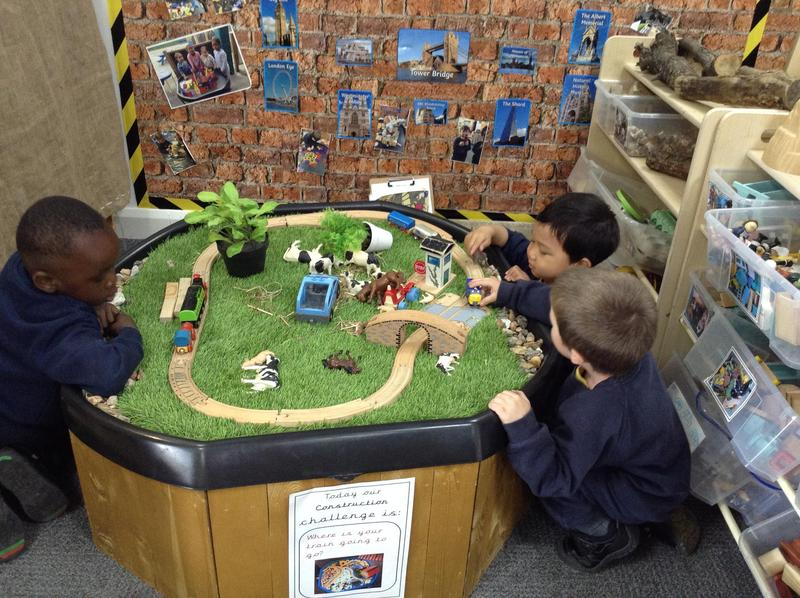 The children love to play with the train in nursery.