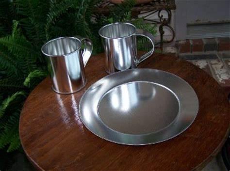 Tin Tea sets (Plates, cups, jugs or teapots)