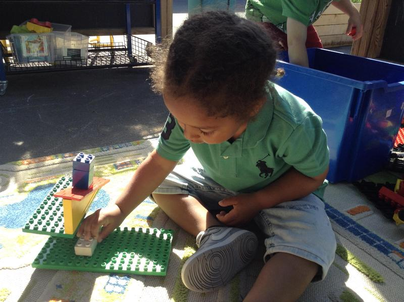 The children love to build and making structures.