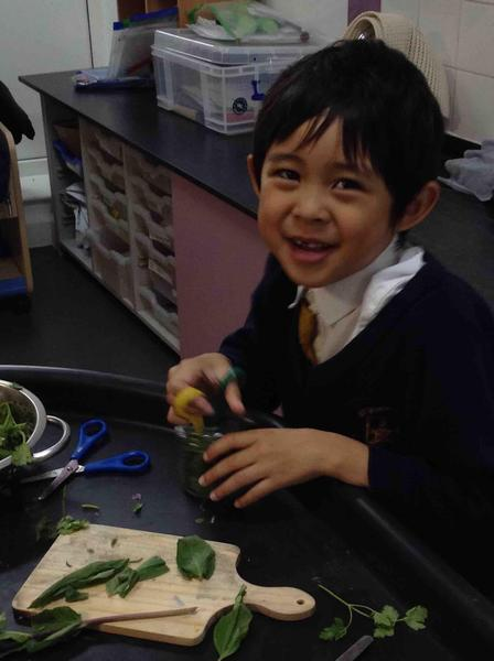 Exploring herbs adds to a multisensory experience. Great for cutting skills too!