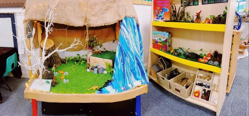 Dinosaur small world with loose parts nearby to extend play
