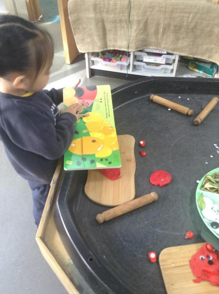 They used playdough and loose parts to make their own ladybirds.