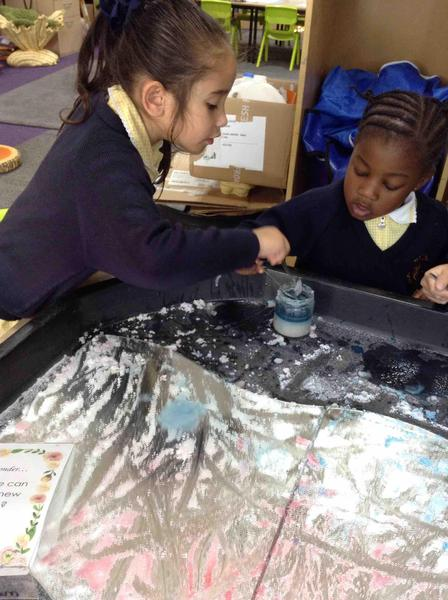 Developing any transformation schemas by mixing salt with water paints.