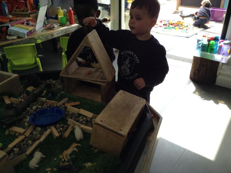 The children enjoyed exploring the farm tuff spot to retell the story.