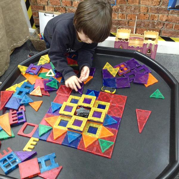 The children explored making patterns using the magnetic polydron.