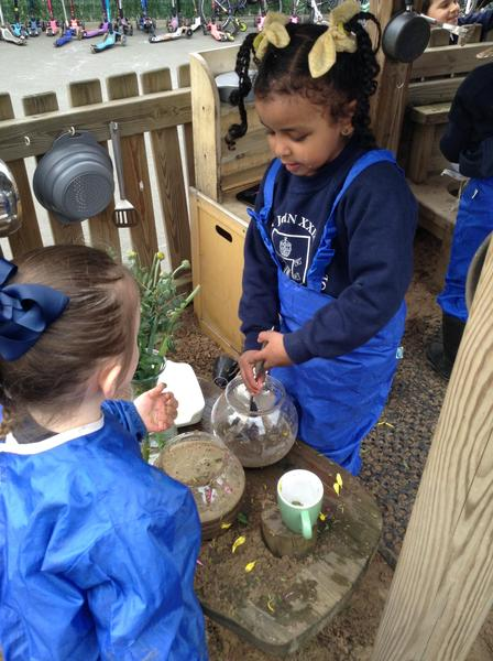 The children have enjoyed playing in the mud kitchen.
