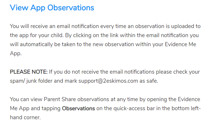 Viewing your child's school observations