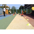 Year 5 coding robots around an obstacle course