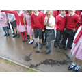 We found a giant footprint on the playground.